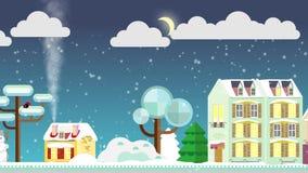 Boże Narodzenie domy na ulicie na tle zimy noc snowly Mieszkanie styl chałupa trochę Wesoło bożych narodzeń materiał filmowy ilustracji
