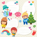 Boże Narodzenie dzieciaków teksta pudełka projekt Obrazy Royalty Free