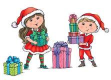 Boże Narodzenie dzieciaki Fotografia Royalty Free