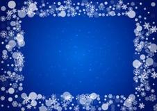 Boże Narodzenie granica z białym płatkiem śniegu ilustracja wektor