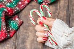 Boże Narodzenie gwoździa sztuki manicure Fotografia Royalty Free