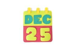 Boże Narodzenie kalendarza papier ciący na białym tle Fotografia Stock
