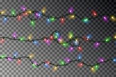 Boże Narodzenie koloru świateł smyczkowy wektor Przejrzysta kolorowa skutek dekoracja odizolowywająca na ciemnym tle Realistyczny ilustracji
