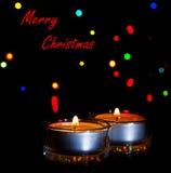 Boże Narodzenie koloru żółtego świeczki Zdjęcia Stock