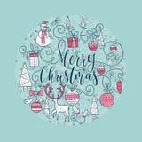 Boże Narodzenie okręgu karta ilustracji