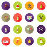 Boże Narodzenie okręgu Płaskie ikony Ustawiają 3 Obrazy Stock