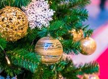 Boże Narodzenie ornamentu piłka dla Xmas nowego roku festiwalu dekoruje na sosny tle Obrazy Stock