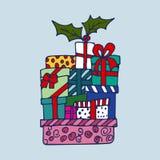 Boże Narodzenie paczka z teraźniejszość royalty ilustracja