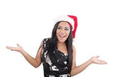 Boże Narodzenie piękna młoda szczęśliwa kobieta obrazy royalty free