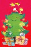boże narodzenie prezenty drzewni Obrazy Royalty Free