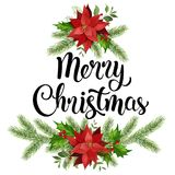 Boże Narodzenie projekta składu wianek czerwona poinsecja i liście ilustracja wektor