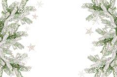 Boże Narodzenie rama śnieżyste jodeł gałąź, miejsce dla teksta i ilustracji