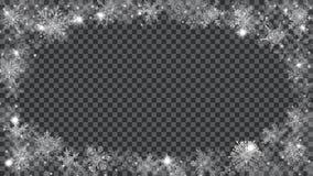 Boże Narodzenie rama półprzezroczyści płatki śniegu w formie ellips Fotografia Royalty Free