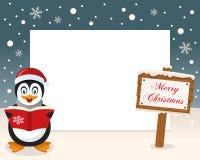Boże Narodzenie ramy Szyldowy & Szczęśliwy pingwin Zdjęcie Royalty Free
