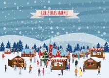 Boże Narodzenie rynek lub wakacyjny plenerowy jarmark na rynku Ludzie chodzi między kramami, baldachimem lub kioskami dekorującym ilustracji