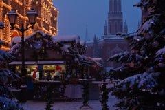 Boże Narodzenie rynek pod śniegiem Fotografia Stock