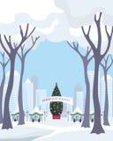Boże Narodzenie rynek w dużym mieście ilustracji