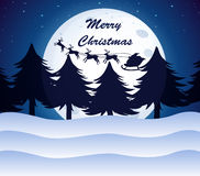 Boże Narodzenie szablon z księżyc, sosnami i reniferami na a, Zdjęcia Royalty Free