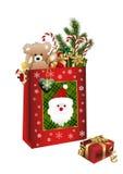 Boże Narodzenie torba z teraźniejszość Zdjęcie Royalty Free