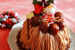 Boże Narodzenie tort z Mont Blanc śmietanką Zdjęcia Royalty Free