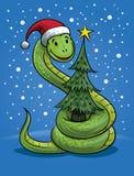 Boże Narodzenie węża kreskówka Ilustracja Wektor