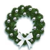 boże narodzenie w nowym roku Błękitna jodła rozgałęzia się w formie Bożenarodzeniowego wianku z piłkami i białym łękiem Na bielu royalty ilustracja