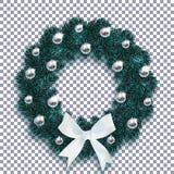 boże narodzenie w nowym roku Błękitna jodła rozgałęzia się w formie Bożenarodzeniowego wianku z piłkami z wzorem i białym łękiem  ilustracja wektor