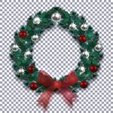 boże narodzenie w nowym roku Bożenarodzeniowy wianek z cieniem błękitna jodła Czerwony łęk, srebro i czerwieni piłki na w kratkę  ilustracja wektor