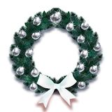 boże narodzenie w nowym roku Ciemnozielone gałąź świerczyna w postaci Bożenarodzeniowego wianku z srebnymi piłkami i bielem one k ilustracja wektor