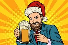 boże narodzenie w nowym roku Uśmiechnięty mężczyzna z kubkiem piwo piana royalty ilustracja