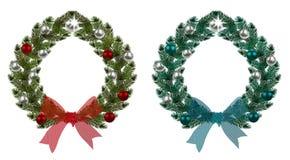 boże narodzenie w nowym roku Zieleni gałąź świerczyna w postaci Bożenarodzeniowych wianków z piłkami i łękami Na bielu ilustracji
