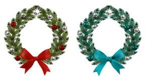 boże narodzenie w nowym roku Zieleni gałąź świerczyna w postaci dwa Bożenarodzeniowych wianków z piłkami i łękami Na bielu ilustracji