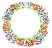 Boże Narodzenie wianek akwarela Obraz Royalty Free