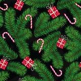 Boże Narodzenie wzór robić jedlinowe gałąź, prezenty i cukierki, Ilustracji