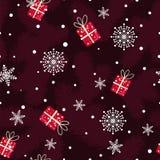 Boże Narodzenie wzór robić jedlinowe gałąź, prezenty i płatki śniegu, Royalty Ilustracja