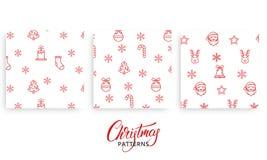 Boże Narodzenie wzór Set Xmas sezonowi wzory dla teraźniejszość opakunkowego papieru Prezenta opakunku projekt ilustracji