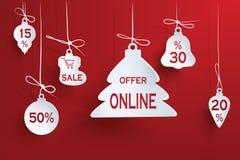 Boże Narodzenie wzoru projekta sprzedaż na czerwonym tle rabaty 3d również zwrócić corel ilustracji wektora Zdjęcia Stock