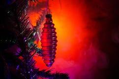 Boże Narodzenie zabawka na choince Nowy rok ornamentów zimy tło dla pocztówki pustej przestrzeni Nowy Rok wigilii tło - glas zdjęcia stock