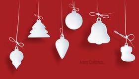 Boże Narodzenie zabawka na czerwonym tle dekoracja nowego roku Wektorowy przedmiot dla projekta, układ postać z kreskówki śmieszn Obrazy Royalty Free