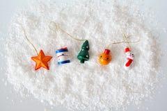 Boże Narodzenie zabawki na śniegu Obraz Stock