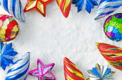 Boże Narodzenie zabawki na śniegu Fotografia Stock