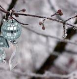 Boże Narodzenie zabawki wiesza na drzewie pierwszy śnieg Ten drzewo outside w śniegu nowy rok, zdjęcie royalty free