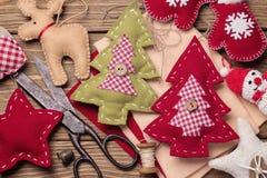 Boże Narodzenie zabawki z ich swój ręki Fotografia Royalty Free