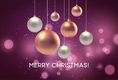 Boże Narodzenie zamazujący różowy tło z bauble również zwrócić corel ilustracji wektora ilustracja wektor