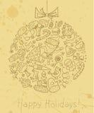 Bożego Narodzenia doodle karta Zdjęcia Royalty Free