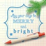 Bożego Narodzenia nakreślenie z ballpoint i małą gałąź Obrazy Royalty Free