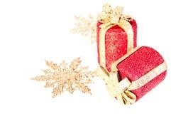 bożego narodzenia złoto ornamentuje czerwień Zdjęcia Royalty Free