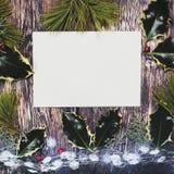Bożego Narodzenia zawiadomienia tło z biel kopii przestrzenią fotografia stock
