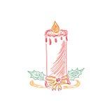 Bożenarodzeniowa świeczka, nakreślenie, doodle, wektorowa ilustracja Obrazy Royalty Free