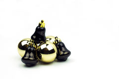 Bożenarodzeniowa żarówka ornamentuje brąz i złoto odizolowywających Obraz Stock